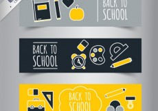 Free vector School banners in yellow and grey tones #14522