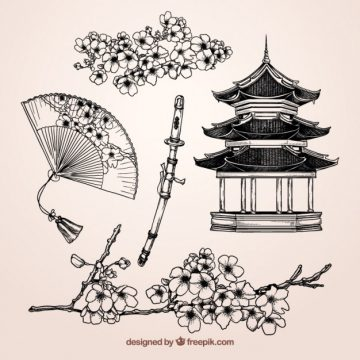 Free vector Sketchy japanese elements #15174