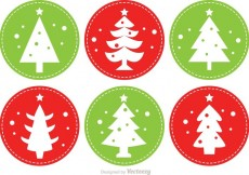 Free vector Stitched Christmas Tree Vectors #16063