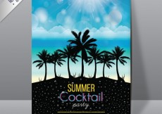 Free vector Summer cocktail party poster #12817