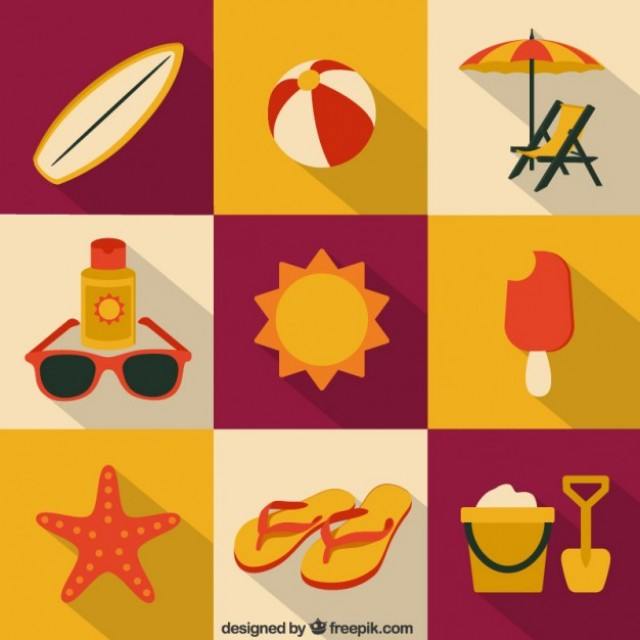 Free vector Summer icons collection #18839