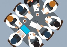 Free vector Top view of business meeting #17413