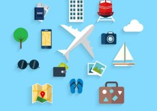 Free vector Traveling on airplane icons #12905