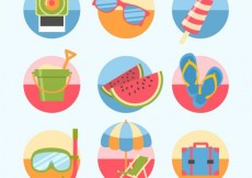 Free vector Variety of colorful summer icons #12387