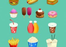 Free vector Variety of fast food #15946