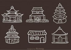 Free vector Chinese Temple Hand Drawn Icons #15275