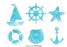Free vector Nautical Watercolor Effect Icons #18621