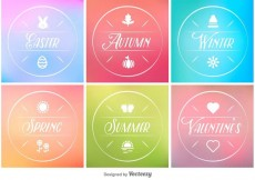 Free vector Spring, Summer, Autumn and Winter Minimal Tags #13305