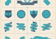 Free vector Vintage collection of ribbons and labels #19586