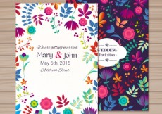 Free vector Wedding invitation in floral style #15554