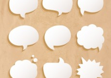 Free vector White speech bubbles on cardboard #19808
