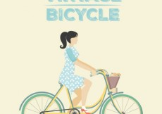 Free vector Woman on a vintage bicycle #12662