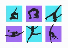 Free vector Women and Child Gymnastics Silhouettes Vector Pack #14258