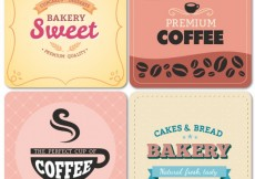 Free vector Bakery and cafe labels in vintage style #21334