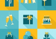 Free vector Birthday elements in yellow and blue tones #25731