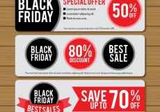 Free vector Black friday banners pack #26227