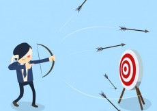 Free vector Blindfold businessman shooting arrows #21569