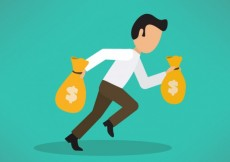 Free vector Businessman carrying a lot of money #22250