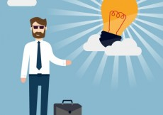 Free vector Businessman with a great idea #21648