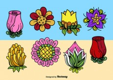 Free vector Cartoon cute flowers #21139