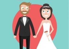 Free vector Cartoon just married couple #27579