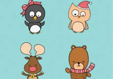 Free vector Christmas Animals Collection #24122