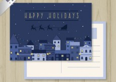Free vector Christmas postcard in blue tones #26723