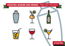 Free vector Cocktail Shaker And Drinks Free Vector Pack #25590