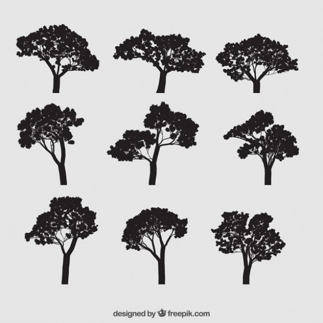 Free vector Collection of tree silhouettes #24924