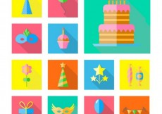 Free vector Colorful birthday party elements in flat design #24970