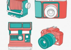 Free vector Colorful cameras in vintage style #21160