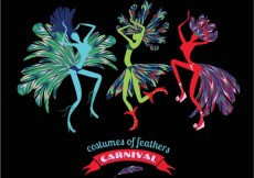 Free vector Colorful costumes of feathers carnival #24418
