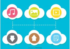 Free vector Colorful Flat Cloud Computing Icon Vectors #27927