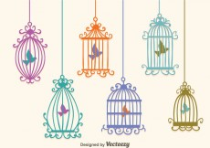 Free vector Colorful Vintage Bird Cage Vectors #25448