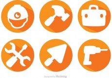 Free vector Construction Tools Long Shadow Icons Vector #22335