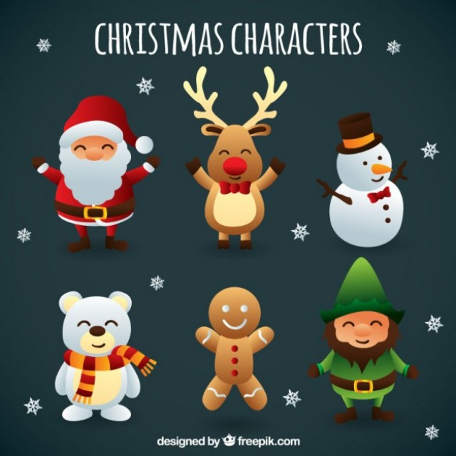 Free vector Cute christmas characters #25184