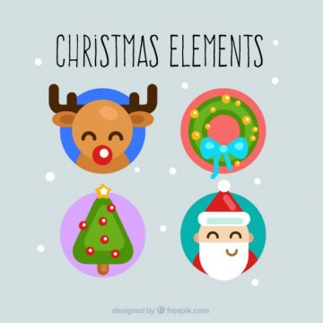 Free vector Cute christmas elements #24740