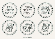Free vector Cute Hand Drawn Style Christmas Label Set #25216