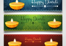 Free vector Diwali candle banners #27922