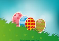 Free vector Easter background with eggs in grass #22004