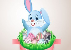 Free vector Easter card with cute bunny and decorated eggs #21593