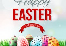 Free vector Easter card with decorated eggs on the grass #21670