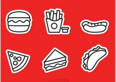 Free vector Fast Food Outline Icons Vector #22211