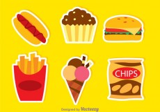Free vector Fatty Food Colors Icons #20923