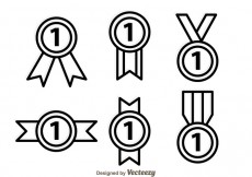 Free vector First Place Ribbon Outline Icons #24133
