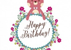 Free vector Floral birthday frame with bear #26549