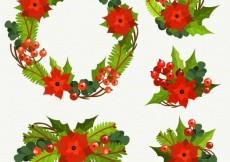 Free vector Floral christmas elements #24342