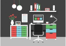 Free vector Free Modern Home Office Interior Vector Icons #23830