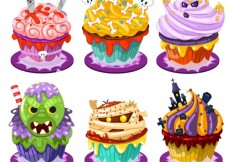 Free vector Funny halloween cupcakes in cartoon style #24264