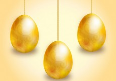 Free vector Golden easter eggs hanging on chains #20714